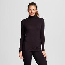 Women's Smooth Stretch Thermal Long Sleeve Turtleneck, Black, XXL