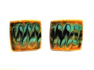 ART DECO MODERNIST COPPER and ENAMEL CUFFLINKS minty