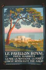 Affiche Originale Biarritz Le Pavillon Royal 105X75Cm Parfait etat 1920