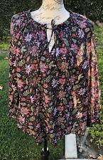 Ann Taylor LOFT Black Floral Tie Neck BLOUSE TUNIC TOP BABY DOLL XL NWT