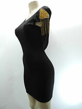 NWT SANJOY Black Dress Gold Spikes Chains Shoulder Open Draped Back Size Small