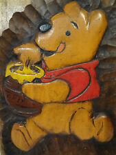 "1983 Handcrafted Disney Winnie the Pooh Wood 11 x 7"" Signed Plaque"