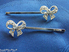 Crystal Kirby Grips Bow Bows x 2 Hair Clips Slides Wedding Bride Prom Party (16)
