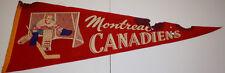 1950's Vintage Montreal Canadiens Pennant Hockey VG Cond KK119