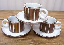 Earth Stonehenge Midwinter 3 Cups 3 Saucers England Brown Stripes Specks Trim