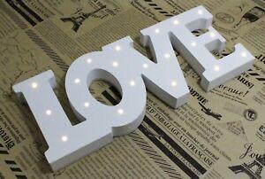 Led decorative letters home love 3d white wood decoration battery registration