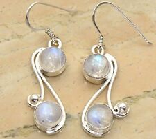 Genuine Rainbow Moonstone 925 Sterling Silver Overlay Handmade Fashion Earrings