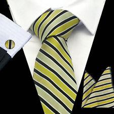 100% Pure Silk Neck Tie Cufflink & Handkerchief Set Shades of Gold Black Stripes