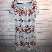 Old Navy Gray Floral Smocked Off Shoulder Dress XXL Tall Short Sleeve NWT