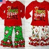 Christmas Kids Baby Girls Red Long Sleeve Letter Tops+Pants Outfit Sets Clothes