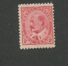 1903 Canada 2 Cent Carmine Stamp Scott #90 King Edward Vii Cv $135