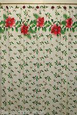 Deck the Halls Fabric Shower Curtain 70Wx72L Holly Poinsettias Christmas Xmas