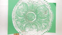 VINTAGE Lead Crystal Cut Glass Etched Starburst Footed Bowl Dish