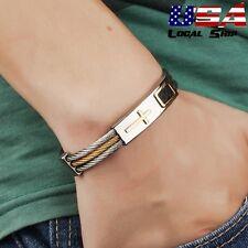 Charm Titanium Steel Cross Genuine Leather Men Cuff Bracelet Bangle Jewelry Gift