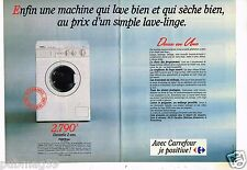 Publicité advertising 1990 (2 pages) La machine à laver Carrefour