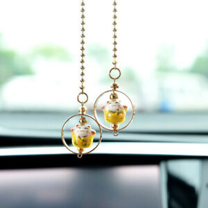 Lucky Cat Car Hanging Pendant Charm Good Luck Wealth Safety FengShuiS*jg