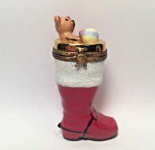 Limoges Box ~ Christmas Boot w Teddy Bear Toys ~ La Gloriette Peint Main France