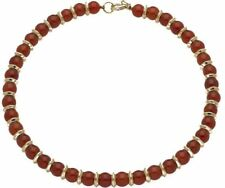 """Egyptian  Carnelian Beaded Necklace with 24 Kt Gold-Plate Roundels 18"""" Long"""