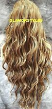 Human Hair Blend Hand Tied Monofilamet Lace Front Full Wig Long Ash Blonde Brown
