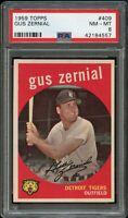 1959 Topps BB Card #409 Gus Zernial Detroit Tigers PSA NM-MT 8 !!