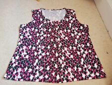 MARKS & SPENCERS White with Black + Pink  spot Top size 18