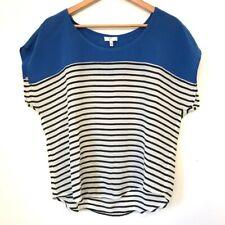 Joie Agacia Blue Striped Silk Top Boxy Medium ($178)
