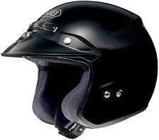SHOEI RJ PLATINUM-R OPEN FACE MOTORCYCLE HELMET SOLID BLACK MEDIUM MD 02-603