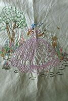 Vintage French Embroidered Crinoline Lady & Flower basket Linen Tablecloth c1930