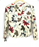 Diane Von Furstenberg Silk Long Sleeve Floral Leaf Print Blouse Top Size 2 XS