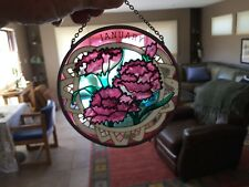 JOAN BAKER DESIGNS ~ HAND PAINTED WINDOW ART ~ GLASS HANGING ~ January