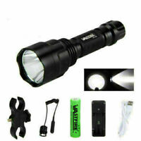 Tactical White T6LED Flashlight Hunting Torch Light Mount USB Rechargeable 18650