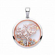 argento e Rosa Oro Zaffiro VETRO zirconia cubica ciondolo albero della vita