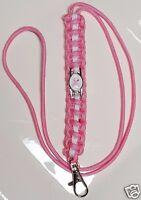 Breast Cancer Awareness Pink Paracord Lanyard with a Pink Ribbon Emblem