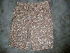 PERRY ELLIS Mens sz 32 Floral Tan Orange White Cotton Nylon Quantity Shorts