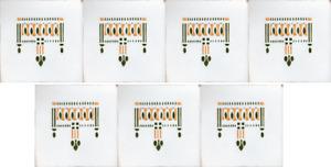 White Transfer Belgian tiles 7 Art Nouveau Ethnic inspired original antique