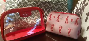 Kate Spade Love Shack Dual Clear Medium Cosmetic Bag/Pouch/Case Lobster Red-NWT