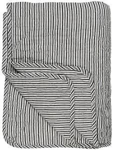 IB Laursen Decke Quilt Sofadecke Streifen schwarz weiss 130 x 180cm Tagesdecke