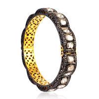 Natural Pave Diamond Polki Gold & 925 Sterling Silver Victorian Bangle Bracelet
