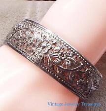 Antique Vintage Sterling Silver Filigree Cuff Bracelet Signed DS