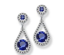 White gold finish blue sapphire and created diamond round pear droplet earrings