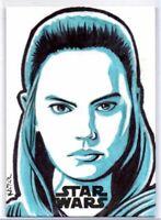 Topps Star Wars The Last Jedi REY Artist SKETCH by Frank Kadar