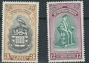 ST KITTS-NEVIS 1951 SG92-93 INAUGURATION OF B.W.I. UNIVERSITY COLLEGE MNH