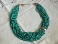 Beautiful Necklace Gold Tone Teal Seed Beads Mulit Strands Signed EL Erica Lyons