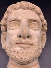 Ancient Greek Terracotta Antefix Satyr Staue Head Circa 200 bc #A255