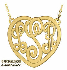 Custom Design Jewelry Heart Monogram Solid 14K Gold Necklace Pendant Chain