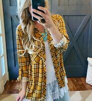 L Boho Plaid Button Front Long Sleeve Mustard Blouse Top Women's Size LARGE