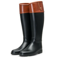 Ladies Patchwork Wellies calf high Boots Riding Knight boots water Rain Shoes