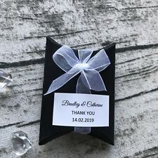 100 Black Gift Boxes Personalised Gift Stickers Wedding Favor Boxes Pillow Boxes