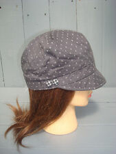 New ACCESSORIZE BROWN BAKER BOY BUTTON CAP COTTON SUNHAT With Embroidered Spots