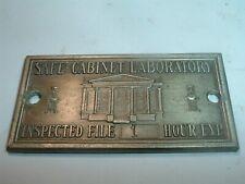 Vintage Antique Safe Cabinet Laboratory Tag Plaque Serial No 1  FREE SHIP